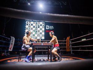 Image: Chessboxing World Championship, Sven Rooch vs. Jonatan Rodruguez-Vega, Moscow 2013 (© Chess Boxing Global)