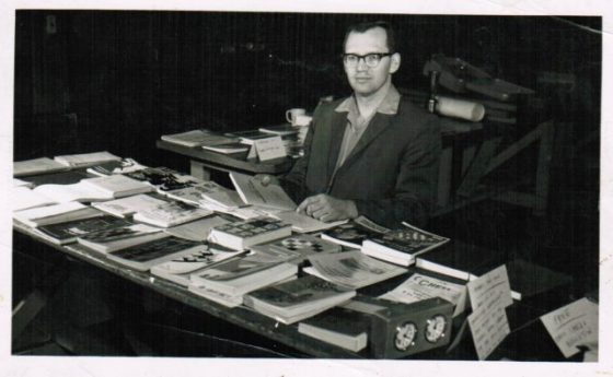 A typical scene at Cleveland tournaments in the 1960s and 1970s - Jim Schroeder selling books, many of which he wrote or produced. (Photo: James Schroeder)